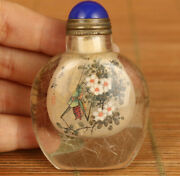 Antiques Natural Hair Crystal Hand Painted Flower Insect Boring Snuff Bottle