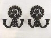 Vtg Cast Wrought Iron Set Of 2 Wall Mount Eagle Dove Bird Sconce Candle Holders