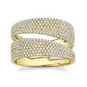 Diamond Bypass Wrap Ring 14k Yellow Gold Statement Open Cocktail 0.80ct Natural
