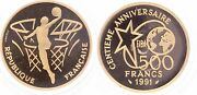 S9957 Rare Coffret 500 Francs Basketball 1991 Or Gold Be Pf Proof Coa - Fo