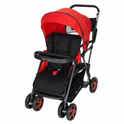 Baby Trend Ss80a07a Sit N Stand Folding Compact Two Seat Baby Stroller, Red