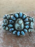 Navajo Golden Hills Turquoise And Sterling Silver Cuff Bracelet