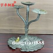 24cm Chinese Pure Bronze Lotus Flower Leaf Pond Frog Candles Holders Candlestick