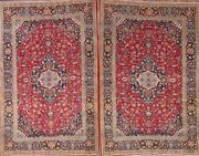 Pair Of 2 Antique Floral Red Oriental Area Rugs Hand-knotted Accent Carpet 5and039x7and039
