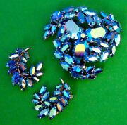 Sherman Metallic Blue Ab Pin Brooch And Pair Of Clip Earrings Set In Box, 1960s