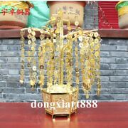 62 Cm Pure Brass Gold Chinese Auspicious Fengshui Wealth Coin Money Tree Statue