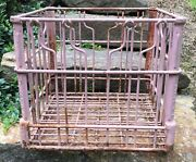 Vintage Metal Wire Milk Crate Midwest Dairy Products Farm Decor