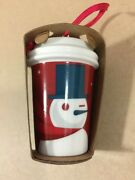 Collectible Starbucks Christmas Ornament 2012 Red Ceramic To Go Cup With Snowman