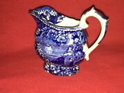 La2 Historical Staffordshire Blue Creamer Girl Picking Flowers By Cottage 1825