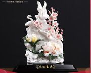 Chinese White Dehua Porcelain Pottery Peony Flower Red-crowned Crane Sculpture