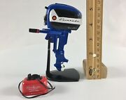 Miniature Outboard, Toy Boat Motor, Blue 1957 Evinrude 18 Hp And Matching Gas Tank