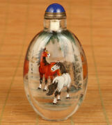 Antiques Old Natural Crystal Hand Inside Painted Steed Horse Snuff Bottle Gift