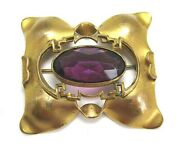Victorian Sash Pin / Gold Plate And Amethyst Colored Glass 40.7 Grams 2 1/2andrdquo