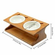 Anti-slip Double Ceramics Bowl With Bamboo Stand Sets Slope Base Feeding For Pet
