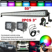 5d Rgb 50 Inch Offroad Led Light Bar + 3 Pods And Music Bluetooth Control Wiring