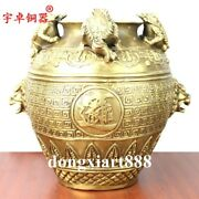 Chinese Brass Foo Dog Lion Fengshui Coin Money Toad Bufo Tanks Crock Pot Bottle
