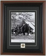Abraham Lincoln Framed Matted Photo Photograph With Civil War Eagle Button Coa