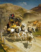 Stagecoach By Swiss Painter Rudolf Koller. Horses Repro On Canvas Or Paper