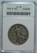 = 1919-s Vf20 Anacs Walking Half Super Color And Eye Appeal Free Shipping