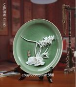33 Cm Chinese White Glaze Dehua Porcelain Pottery Orchid Flower Plate Dish Tray