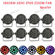 8pcs/lot Ip65 18x18w Zoom 10-60 Degree Led Par Light Rgbwa Uv Par Can Light Us