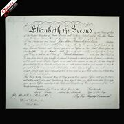 Queen Elizabeth Ii Signed Document Commission Appointment Letter Order Decree Uk