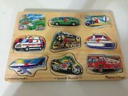 Melissa And Doug Vehicles Sound Peg Puzzle 267 Sound Works Truck Car And Train