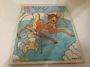 Playskool Puzzle Bambi Fun On The Ice Wooden Wood 7-pieces 289-05 Disney Usa