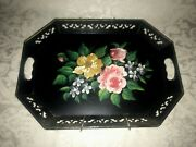 """Vntg Black Metal Cottage Tole Hand Painted Cabbage Rose Floral Tray 18"""" X 13"""""""