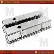 Fits 1958-1986 Chevy Small Block Tall Chrome Aluminum Valve Covers Smooth