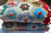 2 Grandmaand039s Flower Garden Vintage Hand Stitched Quilts With Red Wool Back