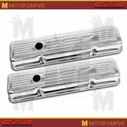 Fits 1958-86 Chevy Small Block 327 Short Steel Valve Covers Chrome W/ 327 Logo
