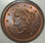 = 1855 Ngc Ms65 Rb Upright 55 Braided Hair Large Cent Free Shipping