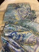 2 Jamaica Blue Paisley Twin Bedskirts Pair New Orig 142 Each
