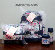 Pottery Barn Kids Gray Rainbow Butterfly Small Backpack Lunch Bag Bottle Thermos