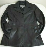 Vintage Wilsons Leather 3 Button Black Jacket Size Small Rn 69426