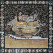 Birds Drinking For Water Jar Mosaic 48and039and039x48 Marble Mosaic An1882