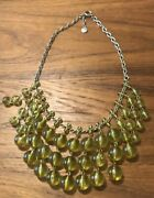J. Crew Bauble Bubble Necklace Yellow Statement Tiered Ball Lucite Bib Jewelry