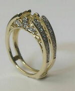 Vintage Cathedral Ring Guard Solitaire Diamond Enhancer 14k Yellow Gold Over 925