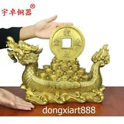41 Cm Chinese Copper Brass Auspicious Wealth Fengshui Dragon Boat Ship Statue