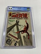 Daredevil 8 Cgc 9.4 Ow/w Pages Marvel Silver Age Near Mint