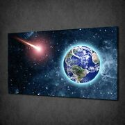 Comet Earth Space Galaxy Modern Canvas Wall Art Print Picture Ready To Hang