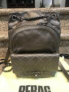 Drawstring Lambskin Leather Backpack W/authenticity Cert From Rebag