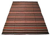 Vintage Embroidered Wool Serape Blanket Or Rug - 77 X 53 - Mexico - C.1970's