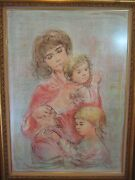Ltd Ed Edna Hibel Mother And Two Children Etching Print W/wooden Frame Signed