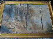 J.b. Anderson Original Watercolor Large Forest Scene W/ Beautiful Gold Frame