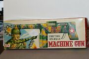 Nice Vintage Tin Friction Army Sparkle Machine Gun Made In Japan In Original Box