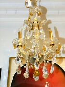 Magnificent Estate Rare Yellow Crystal And Gilt Metal 4-light Chandelier