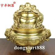 Chinese Brass Auspicious Money Toad Elephant Wealth Fengshui Treasure Bowl Pot