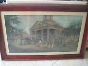 Large Vintage Etching Colored Print With Beautiful Wooden Frame 33 X 18 1/2